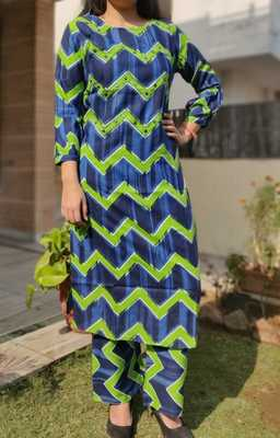 Green Printed Cotton Women Ethnic Wear