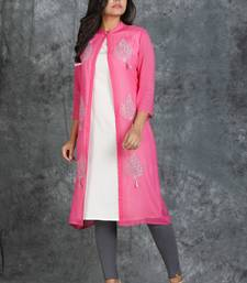 White Sleevless Kurti with Pink jeorgette Embroiderd jacket