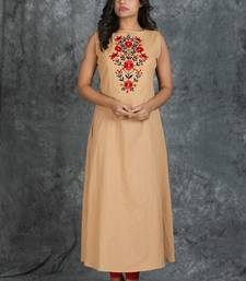 Beige Sleeveless Long Cotton Kurti with Floral Resham Embroiderd On Front