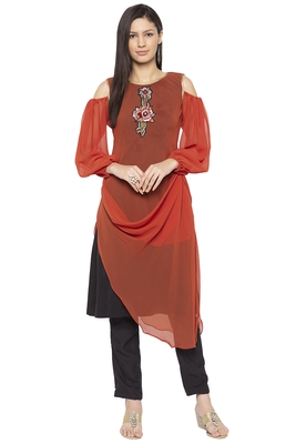 Brown Embroidered Georgette Party Wear Kurtis