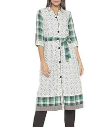 Off White Embroidered Cotton Party Wear Kurtis