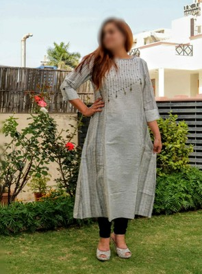 Grey Embroidered Cotton Ethnic Wear Women