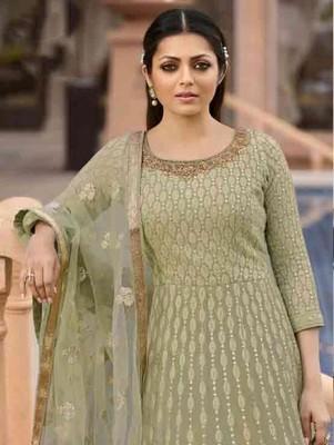 Olive Green Georgette Designer Anarkali Suit