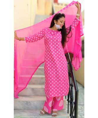 Pink Embroidered Cotton Women Ethnic Wear