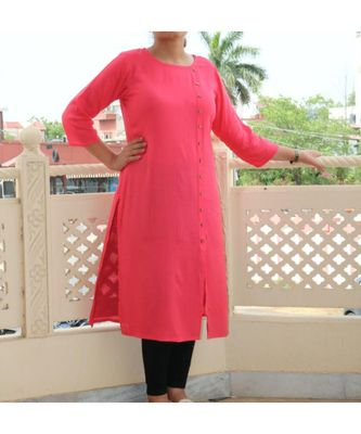 Pink Solid Cotton Women Ethnic Wear