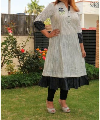 Cream Printed Cotton Ethnic Wear Women