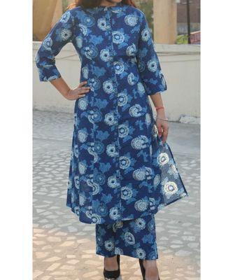 Blue Printed Cotton Ethnic Wear Women