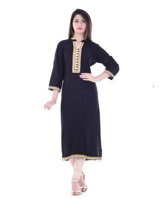 Black Printed Rayon Ethnic Wear Women