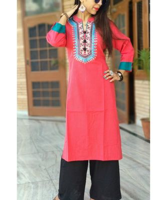 Peach Embroidered Rayon Ethnic Wear Women