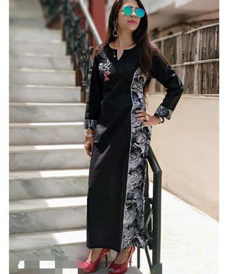 Black Printed Cotton Ethnic Wear Women