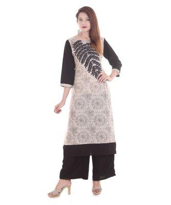 Cream Embroidered Cotton Ethnic Wear Women