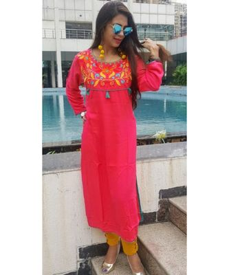 Pink Embroidered Rayon Ethnic Wear Women