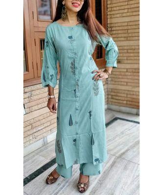 Blue Printed Rayon Ethnic Wear Women