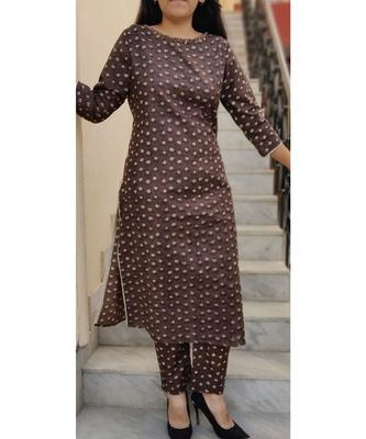 Brown Printed Cotton Ethnic Wear Women