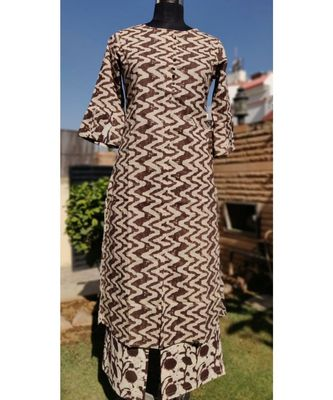 Brown Printed Rayon Ethnic Wear Women