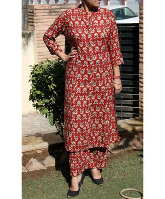 Maroon Printed Rayon Ethnic Wear Women
