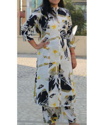 Cream Printed Rayon Ethnic Wear Women