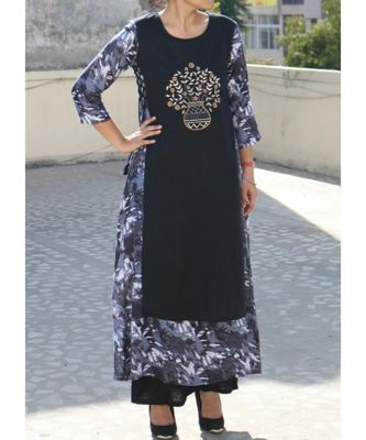 Blue Embroidered Rayon Ethnic Wear Women