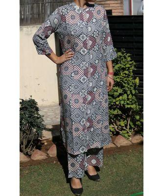 Grey Printed Rayon Ethnic Wear Women
