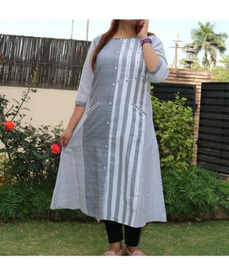 Grey Printed Cotton Ethnic Wear Women