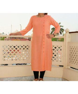 Peach Solid Rayon Ethnic Wear Women