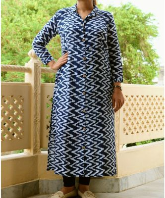 Blue Printed Cotton Ethnic Wear Women