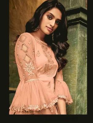 Salmon Color Evening Wear Designer Pakistani Suit