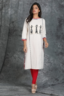 White Khadi Cotton Kurti with Pipli Motif Stitched and Applique Work