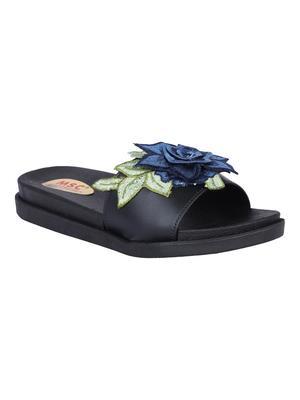 leatherette Stylish Fancy black Platform Sandal For Women