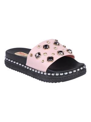 leatherette Stylish Fancy pink Platform Sandal For Women