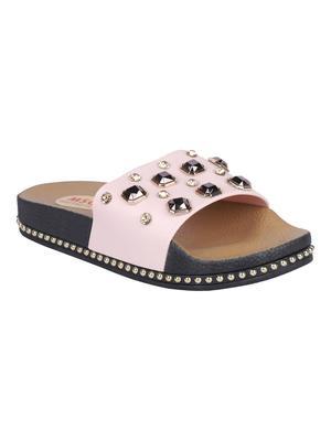 rubber Stylish Fancy Pink Platform Sandal For Women