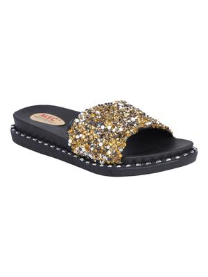 rubber Stylish Fancy gold Platform Sandal For Women