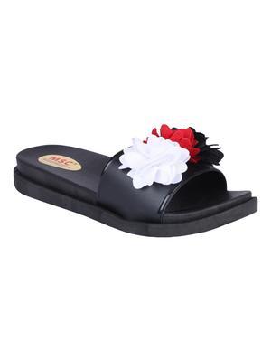 rubber Stylish Fancy Black Platform Sandal For Women
