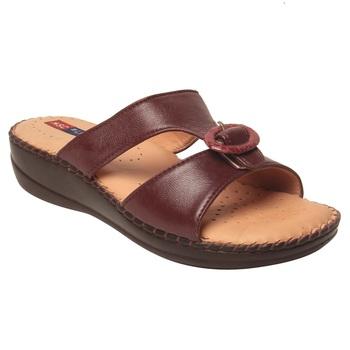 Women Maroon Leather Sandal