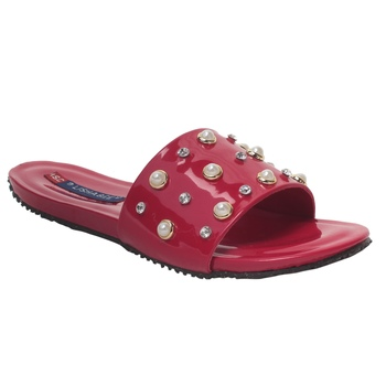 Women Red Synthetic Flats