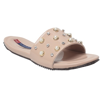 Women Cream Synthetic Flats