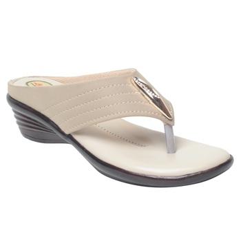 Women Cream Synthetic Sandal