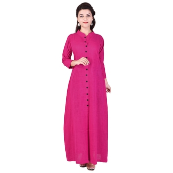 pink plain Long Cotton Kurta