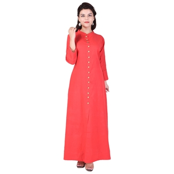 red plain Long Cotton Kurta
