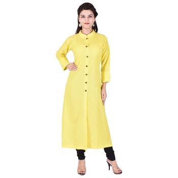 yellow plain Long Cotton Kurta