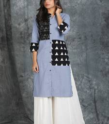 Teal Grey Cotton Kurti with Katha Patch