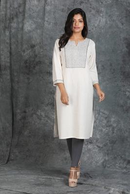 Resham Running Stitched White Khadi Cotton Kurti