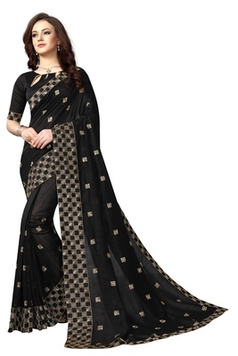 Black embroidered silk saree with blouse