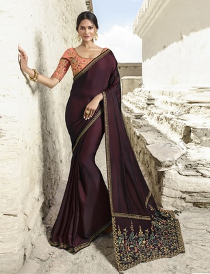 Burgundy embroidered silk blend saree with blouse