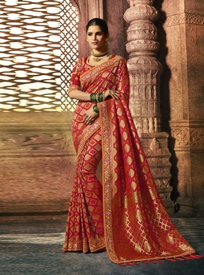 Blood Red Woven Pure Silk Saree With Blouse