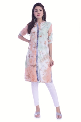 Multicolor Rayon Fabric Tie & Dye Straight Kurti
