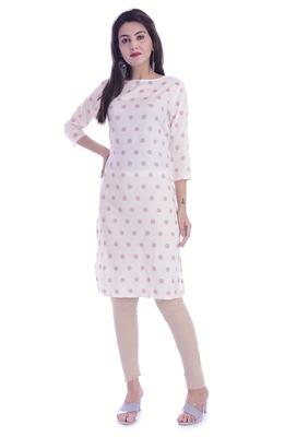 White Color Rayon Fabric Printed Straight Kurti