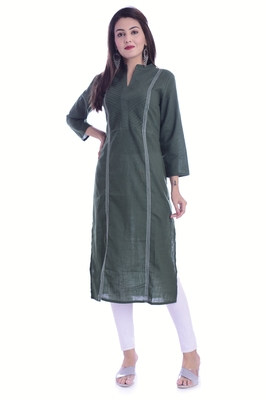Green Color Rayon Slub Fabric Pintex Work Straight Kurti
