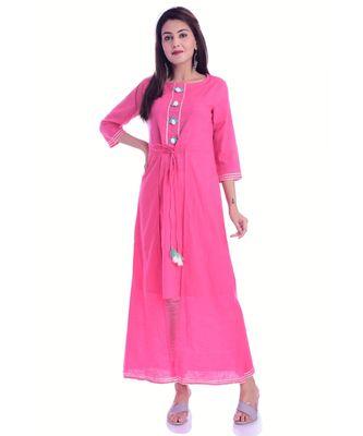 Pink Color Rayon Fabric A-Line Kurti