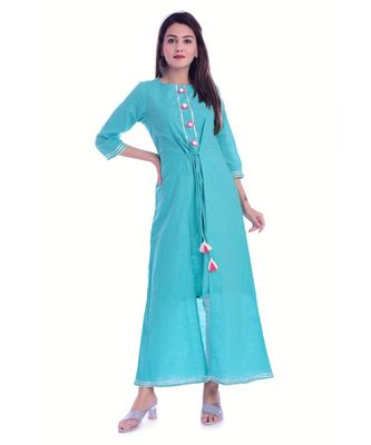 Turquoise Color Rayon Fabric A-Line Kurti
